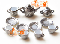 Wholesale G05 X4432 children baby gift Toy Dollhouse mini Furniture Miniature rement Lead silver Art Tea set
