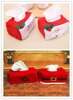 Wholesale White Santa Claus Suit - Christmas Tissue Box Case Holder Xmas Santa Claus Cloth snow man Belt Style red white cy