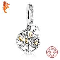 Wholesale Silver Family Necklace - BELAWANG European Family Tree Charms Beads 925 Sterling Silver Cubic Zircon Pendant Fit Pandora Bracelet&Necklace For Women Jewelry Making