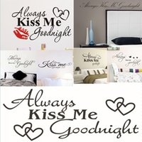 Always Kiss Me Goodnight Adorable Art Wall Decal Etiqueta de vinilo decorativo removible Art Mural Dormitorio Decoración de Hogar