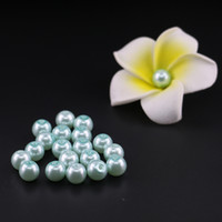 Wholesale Aquamarine Glass Beads - Light Aquamarine Glass Imitation Pearl Bead In Bulk 4 6 8 10mm Loose glass round pearl beads