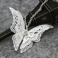 Wholesale Butterfly Wing Pendant Necklace - New Women Lady Girl 925 Sterling Silver Plated Hollow Butterfly Necklace Rhinestones Pendant Fashion Jewelry Flying Wings Butterfly Necklace