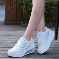 Wholesale Fitness Model Women - Autumn and winter models female sports shoes leather slope with waterproof platform fitness Yao Yao shoes increased running shoes slope