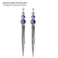 Wholesale Wholesale Swarovski Crystals Red - MADE WITH SWAROVSKI ELEMENTS Rhinestone Long Tassel Drop Dangle Earrings for Women Fashion Neoglory Jewelry 2017 New Arrival CLE