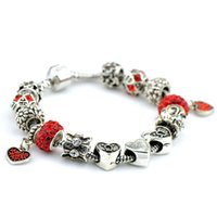 Wholesale Hj Diy - DIY hot sell women ladies beaded chians bracelets strands big holes New Arrival charm bangle silver bracelet-HJ-1622004