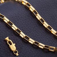 Wholesale Topaz Rhinestone 4mm - Europe and the United States 18 gold electroplating fashion 4MM box chain necklace lovers on necklaces wholesale