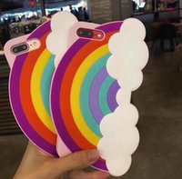 """Wholesale rainbow silicone case - Soft Silicon 3D Rainbow Clouds Phone Cases For Apple iphone 8 7 Plus 6 6s Plus 4.7"""" 5.5"""" i7 goophone se"""