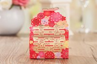 Wholesale Double Happiness Card - Red Wedding Candy Box Hot Stamping Double Happiness Wedding Favors Holders Chocolate Case Gift Bags & Wrapping Supplies 50Pcs