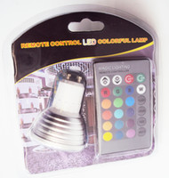 Wholesale Spotlight Socket - RGB Color Changeable LED Bulb Spotlight Blister Packing 3 Watts E27 GU10 - Includes Remote with 16 colors - Fits Standard Light Bulbs Socket