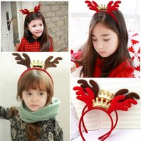 Wholesale Hair Accessories Coffees - New Christmas Girls Headand Crown Antler Cute Deer Hair band Children Accessories Girl Party Bands Xmas Ornaments Coffee Red 20pcs lot A5857