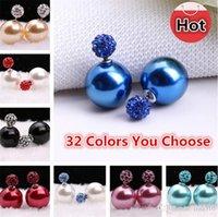 Wholesale Candy Color Ball Stud Earrings - South Korea 32 styles Pearl Earrings shambhala both sides drill ball candy color big pearl earrings studs earrings 2981