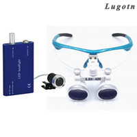 Wholesale dental loupe lights - 3.5X magnifying surgical operating magnify medical loupe with led head light antifog optical glasses dental operation loupe