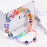 Wholesale Crystal Ball Mm - New Fashion Jewelry Beaded Bracelets For Women 9 Balls 10 mm Crystal Beads Shamballa Charms Bracelets