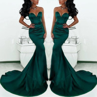 uzun yeşil saten elbisesi toptan satış-Muhteşem Sevgiliye Uzun Zümrüt Yeşil Mermaid Abiye giyim 2019 Saten Fishtail Kadınlar Için Özel Durum Gelinlik Modelleri DTJ