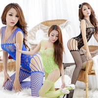 Wholesale Sexy Body Open - High Quality Women Body Stocking High Elasticity Sexy Open Crotch Net Bodysuit Hot Lingerie Jumpsuits 5 Colors