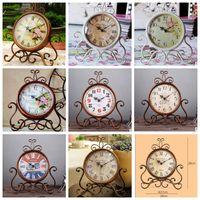 Wholesale Decorative Living Room Clocks - Retro Vintage Decorative Desk Clock Creative Home Living Room Decor Table Floor Clocks Desk Clock 16 design KKA3112