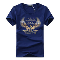 Wholesale Male Shirt Golden - Summer wear short-sleeved t-shirts printed cotton male Japanese popular logo one's morality shirt in summer half sleeve - golden wings