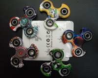 Wholesale Wholesale Graffiti Toys - Graffiti Fidget Spinner New Triangle Finger Spinning Colorful Decompression Fingers Cool Hand Finger Spinner New Best Toys