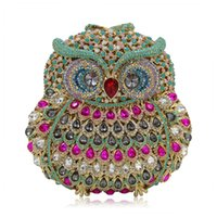 Wholesale European Hoops - hot sale Fashion designer Handmade Clutch purse luxury super glittering full rhinestone diamond crystal beaded cute owl animal Evening Bag