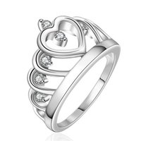 Wholesale Women Ring Gemstone China - best gift Inlaid stone heart crown shape silver jewelry ring for women WR407,fashion white gemstone 925 silver Wedding Rings