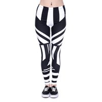Wholesale Girls Striped Tights Black White - Women Leggings Stripe Black White 3D Graphic Print Girl Skinny Stretchy Yoga Wear Pants Casual Jeggings Sport Tight Capris Trousers (J40581)