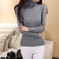 Wholesale Cashmere Tights Women - Wholesale-Women's High Collar Shirt Collar Tight Sweaters wool Sweater Cashmere Sweater Thick pullover