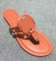 Wholesale ladies sandal designer - Fashion 2017 Designer Genuine Leather Sandals Outdoor Beach Flip Flop Flat Heel Slippers Casual Loafers Lady Women Shoes Sz 35-42