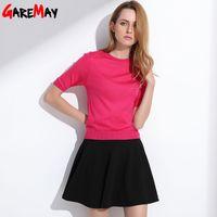 Wholesale Skirt Color Candy Women - Women Summer Sun Skirts Tutu A-Line Pleated Fashion Slim Elastic Female White Short Waist Ladies Candy Faldas Saia Flared Y246