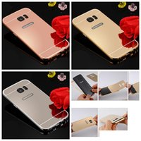 Wholesale Bling Blackberry Covers - For Iphone X 8 7 Plus 6 6S Galaxy S9 S8 Plus A3 A5 2017 S7 Luxury Bling Mirror Metallic Hard PC Aluminum Case+Metal Bumper Frame Skin Cover