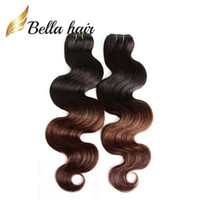 Wholesale T 28 - 14''~30''T Color Peruvian Human Hair 2 Tone Ombre Weaves Human Hair Extension Body Wave Ombre Hair 3pcs lot DHL Free Shipping