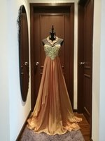 Wholesale Sweetheart Aline Prom - 2017 Fall New Designer Gold Off Shoulder Aline Chiffon Long Special Occasion Dress, Evening Dress, Prom Dress With Diamonds and Beads