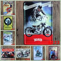 Wholesale Indian Wall Stickers - Noton Indian Motorcycle Route 66 Hockenheim vintage Craft Tin Sign Retro Metal Poster Bar Pub Signs Wall Art Sticker(Mixed designs)
