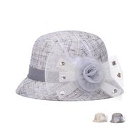 Wholesale Garden Shades - New arriva New spring and summer breathable shade hat ladies color linen bowl cap yarn flower diamond hat M011 with box