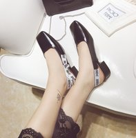 Wholesale Kitten Heel Dress Shoes - Women office shoes special alphabet bowtie buckle design hot white black cover toes slip-on lady sapatos YonDream-276