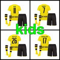 Wholesale Dortmund Jerseys - 2017 2018 Dortmund home football jersey 17 18 Dortmund kids kit REUS Aubameyang PULISIC DEMBEME jersey