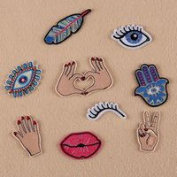 Wholesale Victory Shirt - Wholesale- Cute Feather Evil Eye Plam Hand Victory Brooches for Women Clothing Shirt Brooch Pins Embroidery Applique Sewing Badge AC339