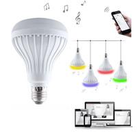Wholesale Bulb Rgb Rc - Smart 12W E27 Bulb RC Colorful LED Lamp Portable Bluetooth 4.0 Speaker Remote Controll 180 Degrees LED Light Bulb Music Lights