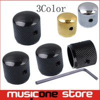 Wholesale Gold Guitar Screws - 4Pcs Metal Dome Tone Tunning Knob with Hexagon Screws Lock Volume Control Buttons for Electric Guitar Bass Black Gold chrome