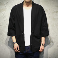 Wholesale Japan Style Kimono - Wholesale- Japan Style Kimono Jacket Men 100% Cotton&Linen Loose Mens Jackets Plus Size 3 4 Sleeve Open Stitch Casual Coat Male Windbreaker