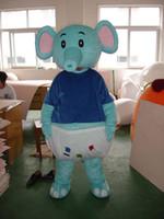 traje de elefante azul venda por atacado-Traje da mascote Do Dia Das Bruxas Elepant Natal Personagem de Aniversário Traje Vestido Azul Cinza Elefante Mascote Frete Grátis