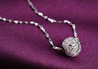 sarı gümüş bileklik kolye toptan satış-Kadınlar için 925 Ayar Gümüş Luxy Topu Kolye Kolye Gümüş Top Takı Moda N41
