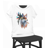 fuchshemd frauen großhandel-Bunte Fox Lady Print Schönheit T-Shirt Lustige T-Shirts Kurzarm T-Shirt Tops Kleidung Damen Sommer T-Shirt für Frauen Lady Girl