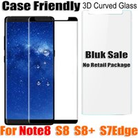 Wholesale Glasses Cases For Sale - bluk sale note8 note 8 S8 Case Friendly 3D curved Tempered Glass Screen Protector for samsung galaxy s8 s8plus s7 edge