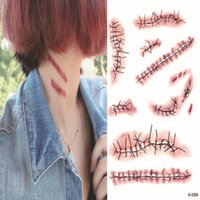 Wholesale Blood Cosplay - Halloween Scratch Wound Scab Blood Scar Tattoos Temporary Tattoo Sticker Cosplay Wound Zombie Scars Halloween Party