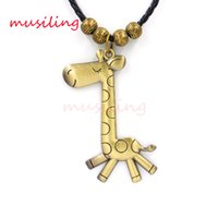 Wholesale Robot Charm Necklace - Copper Alloy The Little Donkey Monkey Deer Robot Leather Necklace Pendant Jewelry High Quality Accessories Metal Hip Hop Jewelry