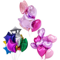 Wholesale Star Shape Balloons - 3 Shape Wedding Party Decoration 18 Inch Heart Shape Balloons Five-Pointed Star Balloon Round Balloons Aluminum Foil Balloons C122L