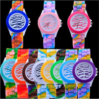Wholesale Geneva Zebra Watches - Geneva leopard zebra pattern watches Colorful silicone women new watch Fashion students dress gift quartz wrist watches