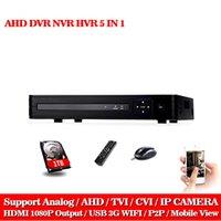 grabadora ip 8ch al por mayor-AHD-NH CCTV DVR 8CH ONVIF cámara IP grabadora H.264 P2P AHD DVR para 1080P AHD cámara IP red híbrida HDMI 1080P grabadora de cctv