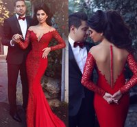 Wholesale Cheap Light Up T Shirts - Long Sleeve New Arabic See-Through Back Mermaid Evening Dresses 2017 Elegant Long Prom Gown Lace Applique Formal Cheap Red Evening Gown Sexy