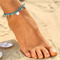 Wholesale double pearl bracelets - Fashion Summer Beach Anklet Bohemia turquoise Beaded Women Bracelet Sexy Barefoot Double layer Chain charm Jewelry Perfect gift